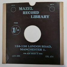 "78rpm 12"" card gramophone record sleeve MAZEL RADIO , MANCHESTER , BLACK"