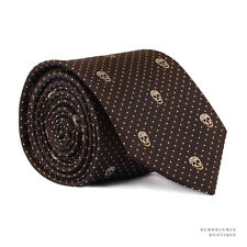 Alexander McQueen Cocoa Brown Ivory Cream Skull Dot Pattern Narrow Necktie Tie