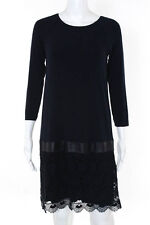Bailey 44 Navy Blue Solid Print Long Sleeve Lace Dress Size Medium $226 New