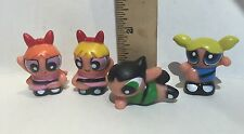 "Powerpuff Girls 4 pc Figure Set Bubbles Blossom Buttercup 1.5"" Cake Topper Toy"