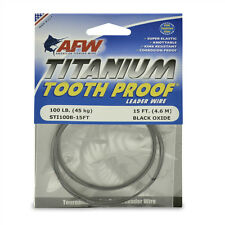 AFW TOOTH PROOF TITANIUM LEADER Single Strand Wire 100LB Test NEW! STI0100B-15FT
