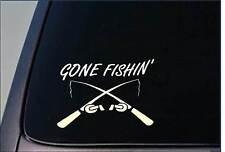 """Gone Fishing 8"""" STICKER *F447* fish hook net bait cast rod reel line boat bass"""
