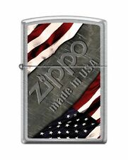 Zippo 1276 Made in USA Flag Street Chrome Full Size Lighter