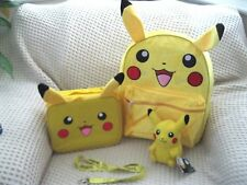 "Pokemon Pikachu 16"" Rolling with Ears Backpack,Lunchbox,Plush,&Lanyard Combo-New"