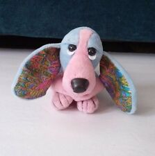 Hush Puppies Applause Beanie Basset Hound Dog Pink Blue with Metallic Shiny Ears