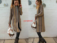ZARA NEW LONG STRIPED WOOL JACQUARD COAT WITH POCKETS SIZE S