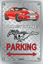 Parking Sign Metal MUSTANG 2015 Shelby GT- 04 RED - Checkerplate Look