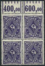 Posthorn MiNr. 230W im Viererblock vom Walzenoberrand 1'5'1 postfrisch