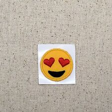 Iron On Embroidered Applique Patch - Smiley Face Heart Eyes Emoji - SMALL