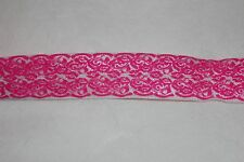 Clearance 4 yrds Hot Pink White Damask Lace Print foldover elastic Hair Ties FOE