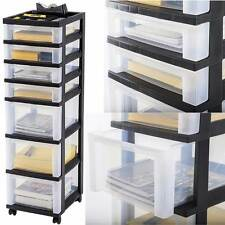 Plastic Storage Cabinet 7 Drawer Rolling Cart Organizer Container Box Wide Bin