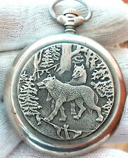 MOLNIJA  WOLVES OPEN FACE MEN'S OLD POCKET WATCH USSR