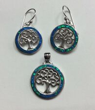 REAL STERLING SILVER Sim Mystic Topaz Tree Of Life EARRINGS & PENDANT 9.5g