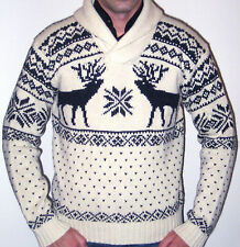 Ralph Lauren Polo Cream Reindeer Christmas Holiday Shawl Neck Sweater – Large