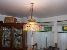 VINTAGE LARGE STAINED GLASS HANGING LIGHT/CHANDELIER KITCHEN OR DINING ROOM
