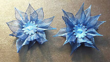 UK-Fabric,Blue -  Organza Ribbon Flowers  Appliques,Trimmings ,Wedding- 70mm x 2