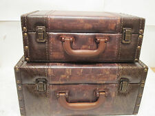 Brown Faux Leather Wood Suitcase Storage Box Set of 2