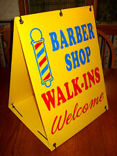 BARBER SHOP WALK-INS WELCOME  2-Sided  Sandwich Board Sign Kit NEW yellow