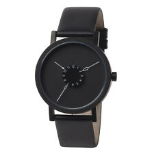 "Projects Watches ""Nadir"" Acciaio Inox IP Nero Pelle Orologio Unisex Uomo"