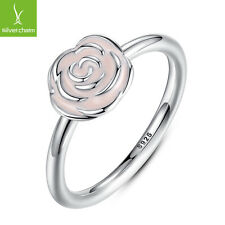 Authentic 925 Sterling Silver Rose Garden Stackable Finger Ring For Women Size 7
