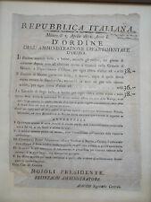 EDITTO REPUBBLICA ITALIANA 1802 DIPARTIMENTO D' OLONA MILANO BURRO E CANDELE