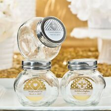50 Personalized Metallic Foiled Glass Jar Wedding Shower Party Gift Favors!