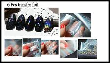 Nail art foil set of 6 sheets transfer wraps Transparent/silver  multi
