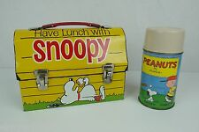 Vintage 1968 Snoopy Metal Lunch Box with Tan Thermos - RARE - Peanuts Dog House