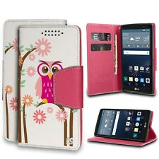 For LG G Stylo, Faux Leather Flip Wallet Case - Pink Owls
