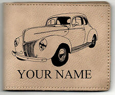 40 Ford Coupe Leather Billfold With Drawing and Your Name On It-Nice Quality