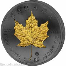 2015 1 oz Canadian Silver Coin - Golden Enigma - Maple Leaf 24K Gold Ruthenium