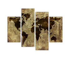 "LARGE CANVAS PRINTS RETRO BROWN WORLD ATLAS MAP 4PANEL 35""90CM WALL ART PICTURES"