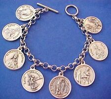 "Custom Religious Saint Medal Charm Bracelet Lot PRAYERS Stainless Steel 7.5"" C7"