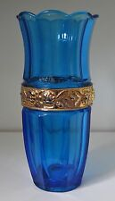 blaue Art Deco Pressglas Vase vergoldete Rosenmuster Brockwitz 1929 ARIADNE