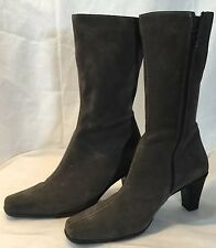 LA CANADIENNE WOMENS BROWN HALF BOOTS SUEDE SIZE 10 SHOES CANADA