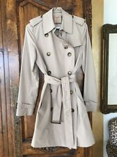 Burberry Raincoat Knee Length Size Small Signature Plaid Lining British Tan