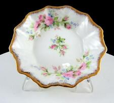 "ROSLYN ENGLAND MOSS ROSE & GOLD SCALLOPED RIM 4 1/2"" SWEET MEAT DISH"