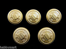 5 x 20mm Gold Coloured Metal Blazer Shield Buttons with Twin Crowns