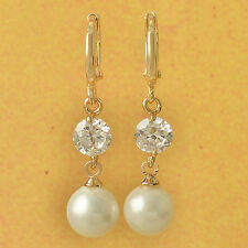 Cool 9k Yellow Gold Filled pearl & Cubic Zirconia dangle earrings F4035