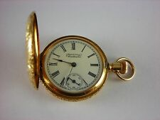 Antique American Waltham ladies pocket watch with 14k solid gold Hunter case
