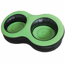 DOUBLE INFLATABLE FLOCKED CHAIR SEAT CAMPING SOFA LOUNGER RELAXING GREEN & BLACK