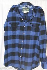 Field and Stream Heavy Blue Black Plaid Flannel Trucker Shirt Men's LT