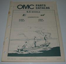 Ersatzteilkatalog Parts Catalog OMC 6.5 / 6,5 Models Boot Engine Bootsmotor 1984