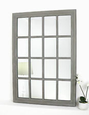 "Provence Grey Shabby Chic Rectangle Window Wall Mirror 32"" x 24"" Large"