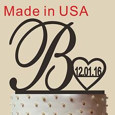 Personalized 26 Letters Cake Topper, Acrylic,Wedding Gift with Heart and Date.