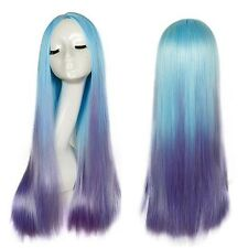 Harajuku Womens Mermaid Wig Long Straight Part Bang Blue Purple Costume Wig Hair