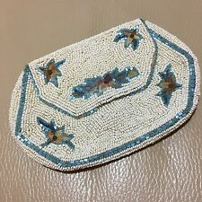 Antique Art Deco white blue glass beaded embroidered evening bag purse bridal