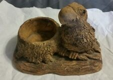 Wooden Handcarved Bird Figurine and Candle Holder
