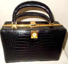 Very rare vintage 1960's Lederer alligator skin box bag with a watch attached