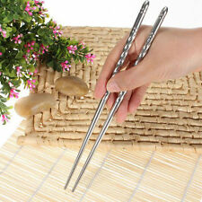 2 Pairs Chinese Stylish Non-slip Stainless Steel Chopsticks Chop Sticks Silver
